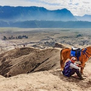 Unidentified horse rider with his horse at Mt.Bromo Tengger Semeru (2)