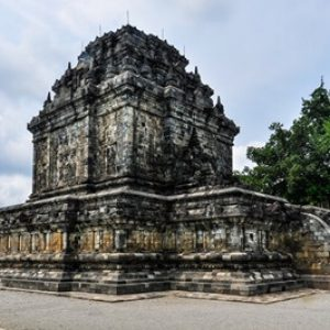 Buddhist temple in Mendut near Borobudur on Java Island Indonesia